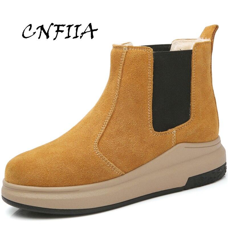 Boots Mujeres Tobillo De Casuales Cnfiia Alta Boots Nieve Negro Calidad  Black Caliente Nuevo Piel 2018 yellow Botas Damas Invierno ... e28bafaaae65
