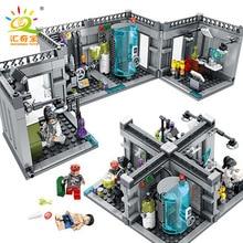 Купить с кэшбэком City Police Biochemical Lab Series Compatible with Lego Technic Model Building Blocks Classic Figures Enlighten Bricks Toys