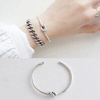 925 Sterling Silver Bangle Bracelet Antique Vintage Craft Simple Single Rope Knot Opening Adjustable Bracelets For