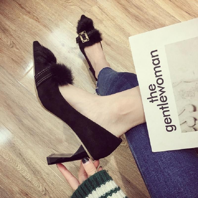 Et La 2018 Sauvage 2 Chaussures Velours Dans 1 Plus Printemps Coréenne Pointu Nouveau Boucle Automne qqUvr4E
