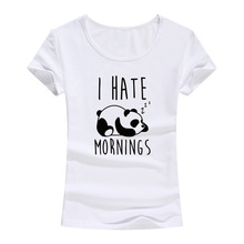2017 Summer I HATE Mornings Panda Print Women Cotton T-Shirt Fashion Harajuku Brand Korean Tee Shirt Femme Funny Hipster Tops