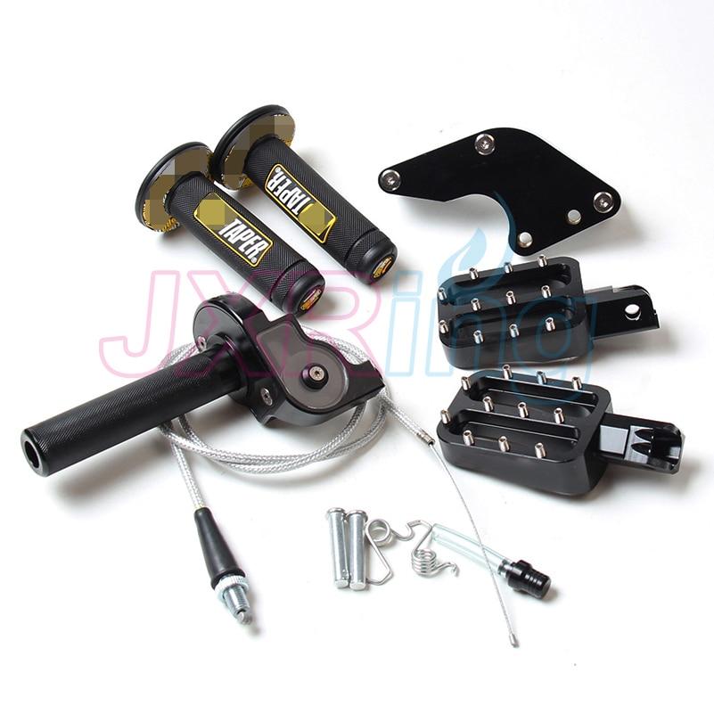 Черный монтажными деталями ручки&цепи и подножки и руль поворот дроссельной ручками и колпачком отверстие для ОФД КЛК ТТР 50 70bike части