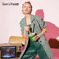 Samstree Green Plaid Vintage Brit Graphics Coat Women 2019 Autumn Single Breasted Blazer Fashion Office Ladies Blouses