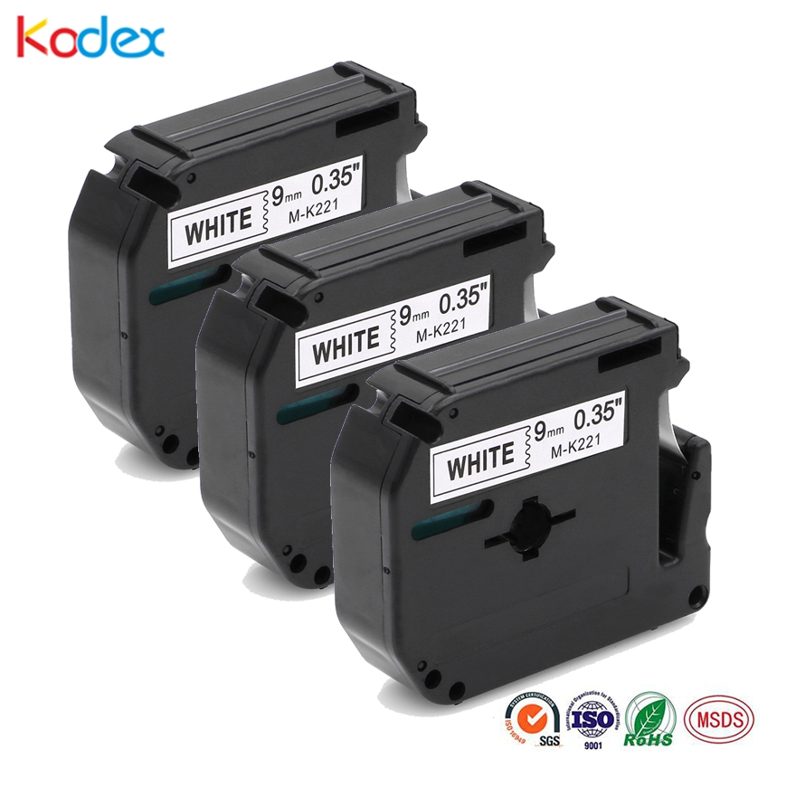 Kodex 3pcs M tape 221 compatible Brother P-touch label tape 9mm M-K221 black on white for Brother P Touch Label Maker