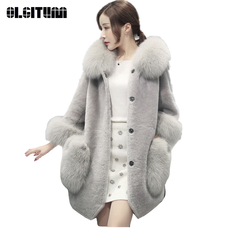 OLGITUM Winter Jacket Women Large Fur Collar Down Wadded Female Cotton-padded Jackets Thickening Single Breasted Long Coat FF049 winter jacket women coats big fur collar down wadded jacket female cotton padded jackets thicken winter coat women parka mujer