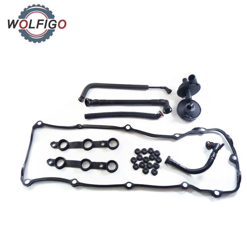 WOLFIGO PCV Crankcase Vent Valve Valve Breather Hose Cover Gasket Set for BMW E46 E39 E60