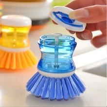 Nova casa cozinha utensílios de lavar panela prato escova com lavagem dispensador de sabão líquido lavagem pote escova