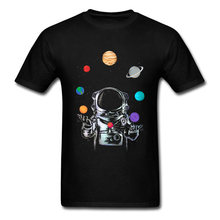 Ruimte Circus Tshirt Mannen Crazy T-shirt Astronaut Tops & Tees Party T-shirts Zwart Korte Mouw Kleding Cartoon Zomer Trui(China)
