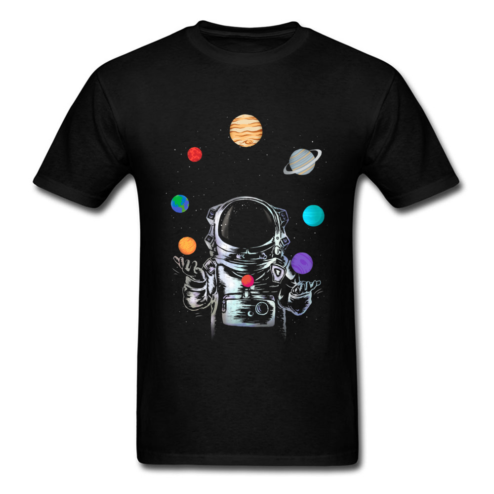Space Circus Tshirt Men Crazy   T     Shirt   Astronaut Tops & Tees Party   T  -  shirts   Black Short Sleeve Clothes Cartoon Summer Sweater