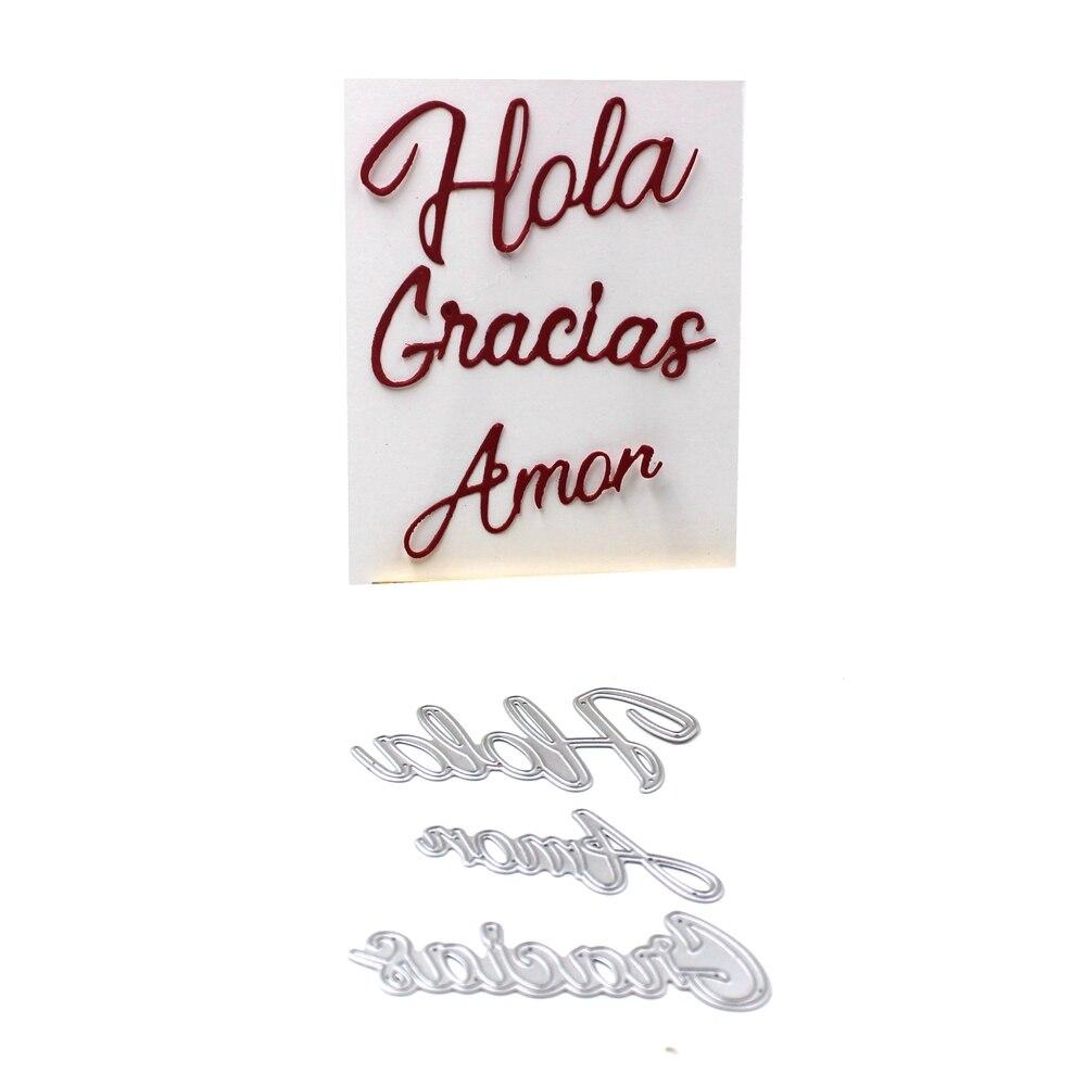 KSCRAFT Spanish Hola Amor Gracias Metal Cutting Dies for DIY ...