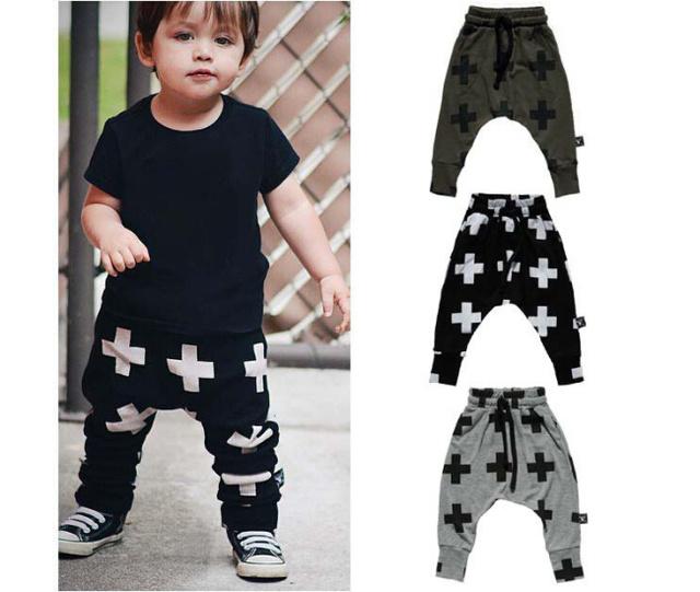 Calças infantis Meninos Cruz Impresso Criança Meninas Meninos Calças Novas Crianças Nascidas Roupas Meninos Casual Harem Pants