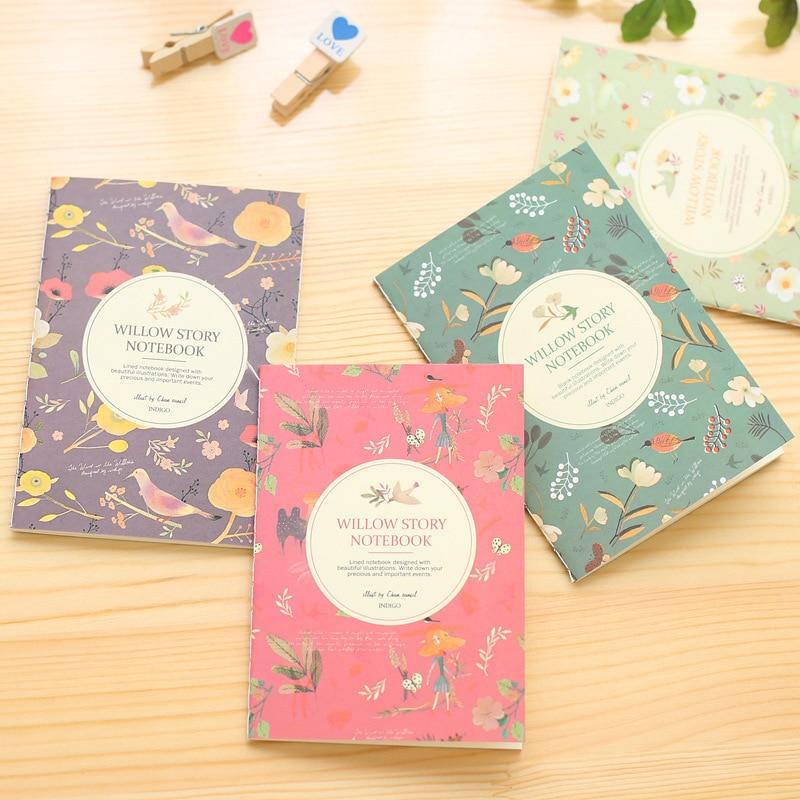 Cute Flower And Bird Mini School Notebook Paper Notepad Travelers Notebook Pocket Diary Agenda Journal Stationery School Supply