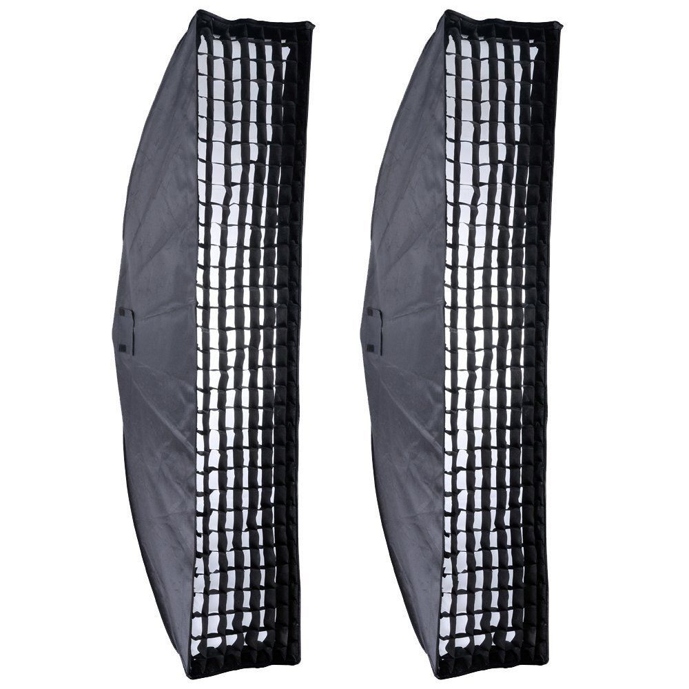 "2PCS Godox 35x160cm 14 ""x63"" Honeycomb Gitter Softbox Bowens Mount til Studio Strobe"