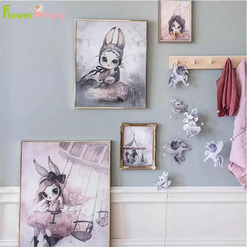 Мультяшная настенная живопись садик холст живопись детский интерьер для комнаты девушки Северный плакат фотографии детей для гостиной домашний Декор без рамы