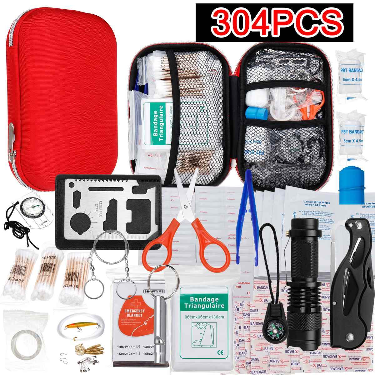 145/261/304 Pcs First Aid Bag Kit Camping Hiking Car Portable Outdoor Medical Emergency Kit Treatment Pack Survival Rescue Box