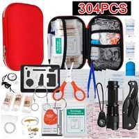 145/261/304 pièces trousse de premiers soins Camping randonnée voiture Portable en plein air Kit médical d'urgence Pack de traitement survie boîte de sauvetage