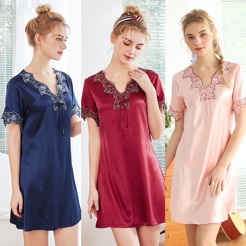 Fashion Summer Nigh Tgown Sexy V-neck Faux Silk Sleeping Wear Home Clothes   Nightgowns     Sleepshirts   Pijamas Dress Sleepwear Women
