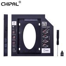 Chipal 10 pçs plástico universal 2nd hdd caddy 12.7mm sata 3.0 para 2.5 enclosure enclosure disco rígido ssd caso gabinete para portátil CD-ROM optibay