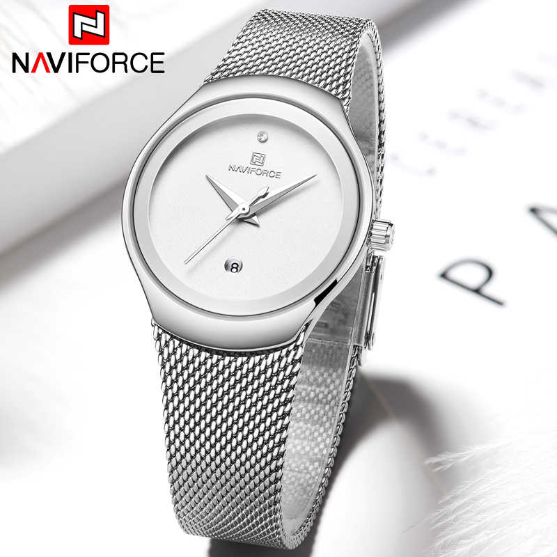 NAVIFORCE Women Watches Top Luxury Brand Fashion Silver Simple Quartz Female Waterproof Watch Lady Casual Clock Relogio Feminino