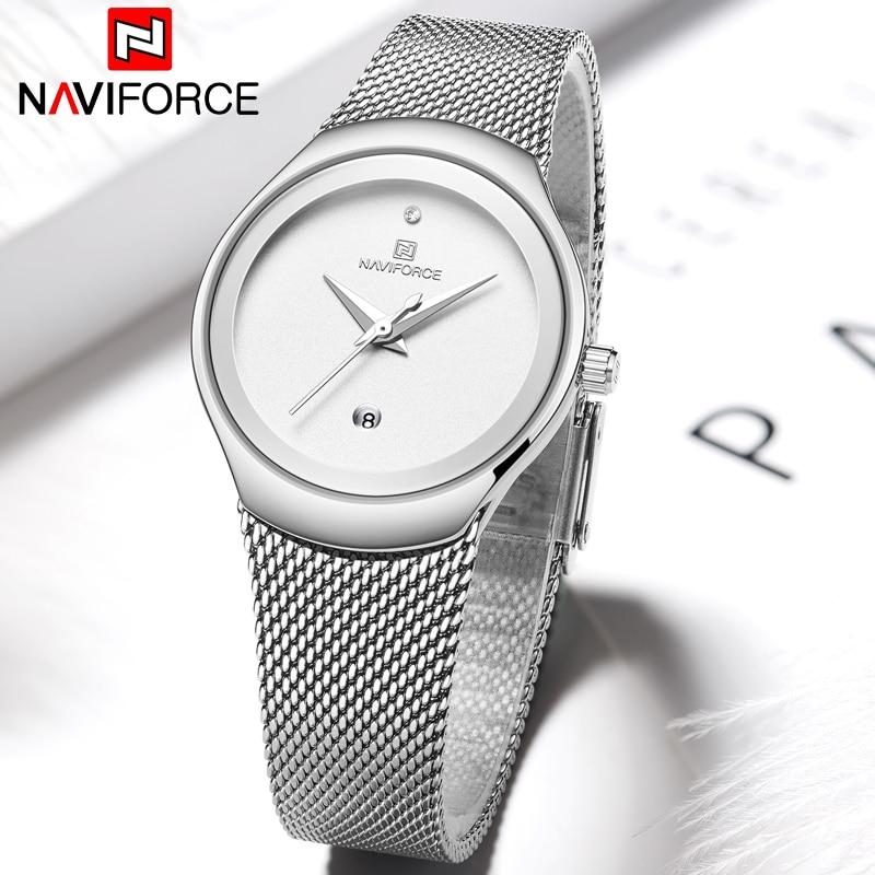 NAVIFORCE Women Watches Top Luxury Brand Fashion Silver Simple Quartz Female Waterproof Watch Lady Casual Clock Relogio Feminino