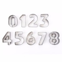 9pcs Stainless Steel Large Digital Number Module Cookie Biscuits Chocolate Candy Molds Dessert Handmade Cake Baking
