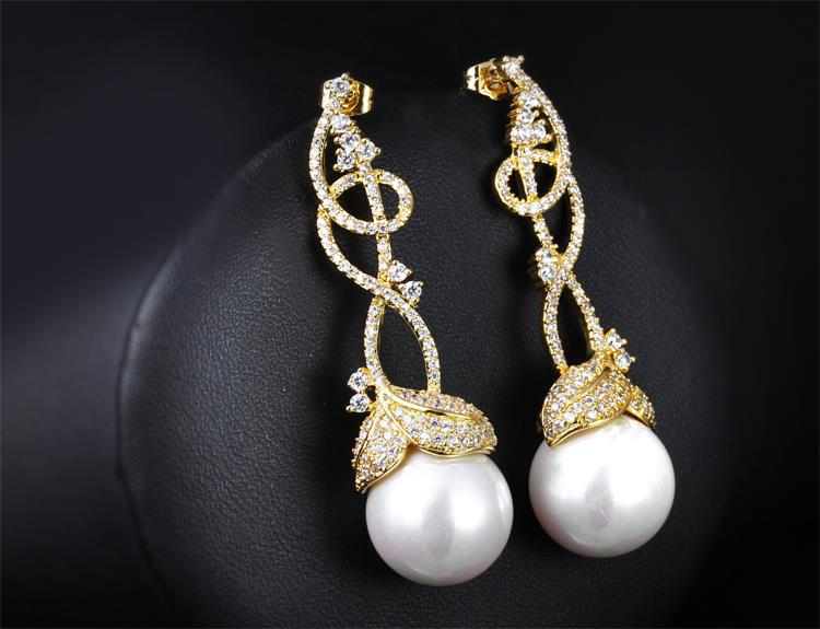 Dangle Earring White Gold Plated Aaa Cz Pearl Long Drop Earrings Fashion Jewelry For Women With Pearls Free Shipment In From