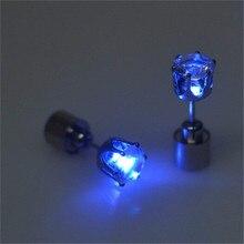 SHSHD Горячая 1 шт. очаровательный светодиодный светильник, Светящийся Кристалл, серьги-капли из нержавеющей стали, ювелирные изделия A4