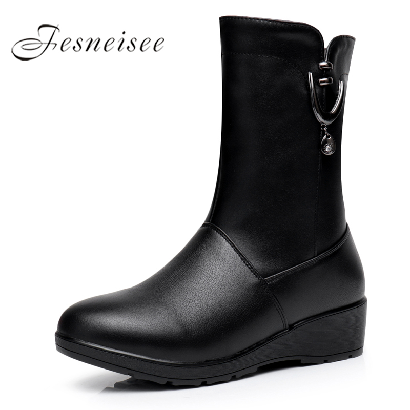 2017 New Winter Mid Calf Boots Woman Boots Genuine Leather Round Toe High Heels Rain Boots Wedges Shoes Size 34-41 M4.0 riding boots chunky heels platform faux pu leather round toe mid calf boots fashion cross straps 2017 new hot woman shoes
