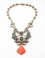 Vintage Imitation Gemstone Geometric Orange Fan Shaped Pendant Necklace Antique Gold Color Statement Necklaces Indian Jewelry