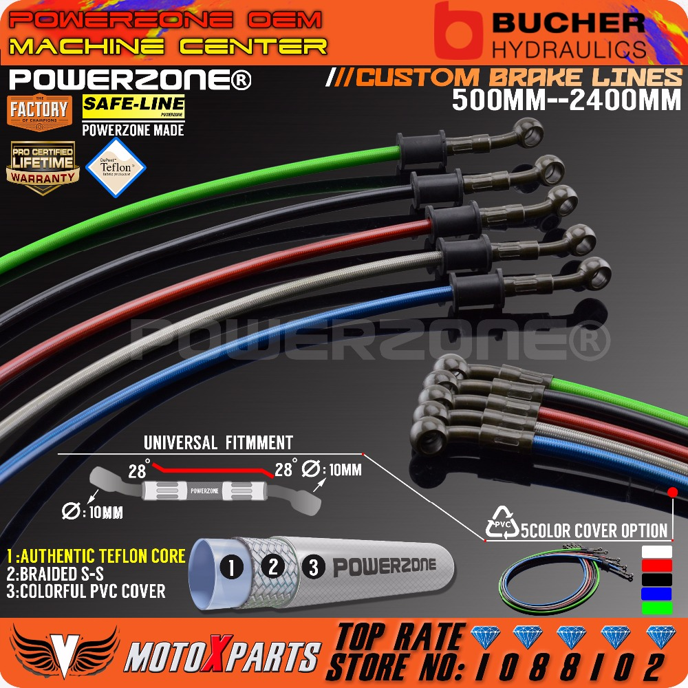 POWERZONE Motorcycle Dirt Bike Braided Steel Hydraulic Reinforce Brake line