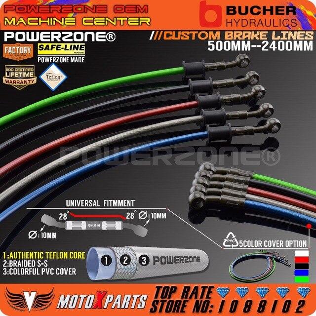 Moto Dirt Bike Tressé En Acier Hydraulique Renforcer ligne De Frein D'embrayage Huile Tuyau Tube 500 À 2400mm Universal Fit Racing MX