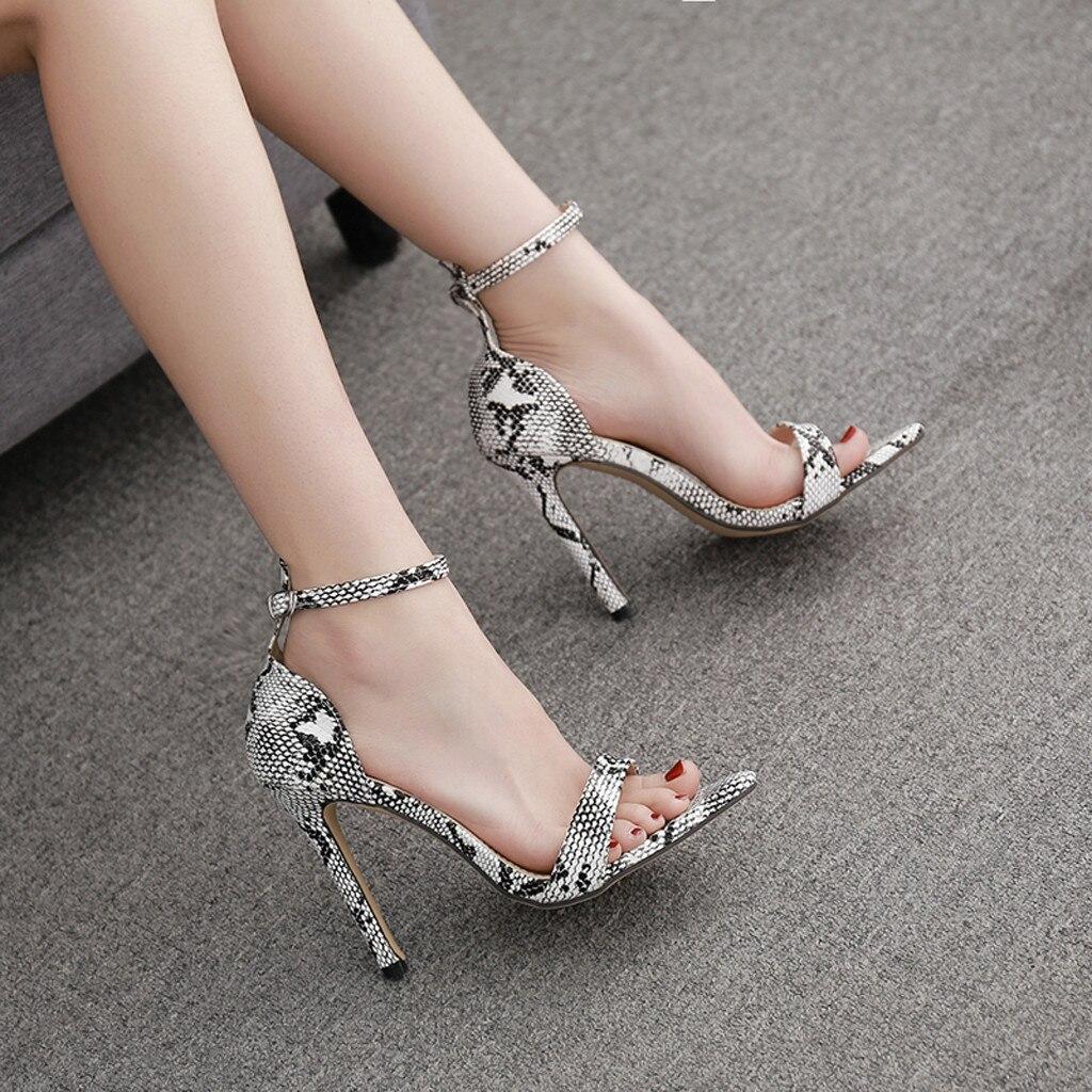 Trustful Siketu Women Fashion Snake Heel Pump Stilettos Pointed Toe Strap Buckle High Heel Shoes Sandalias De Verano Para Mujer 2019#g35 Outstanding Features Low Heels