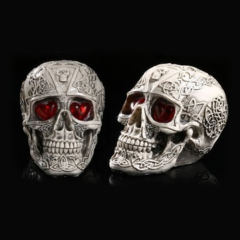 LED Human Shape Skeleton Head Homosapiens Skull Statue Figurine Demon Evil Home Decor