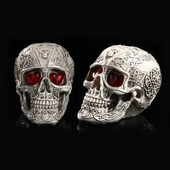LED Kształt Ludzki Szkielet Głowy Homosapiens Zło Demon Czaszka Statua Figurka Wystrój Domu