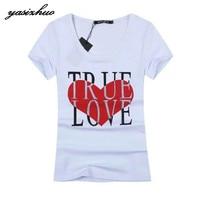 Free Shipping Brand Fashion Women Short Sleeve T Shirt Tees Tops Heart Diamonds Letter Print O