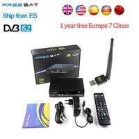 1 Année Europe Espagne Italie Arabe 7 Clines Serveur HD Freesat V8 Super DVB-S2 Récepteur Satellite Plein 1080 P USB WIFI antenne