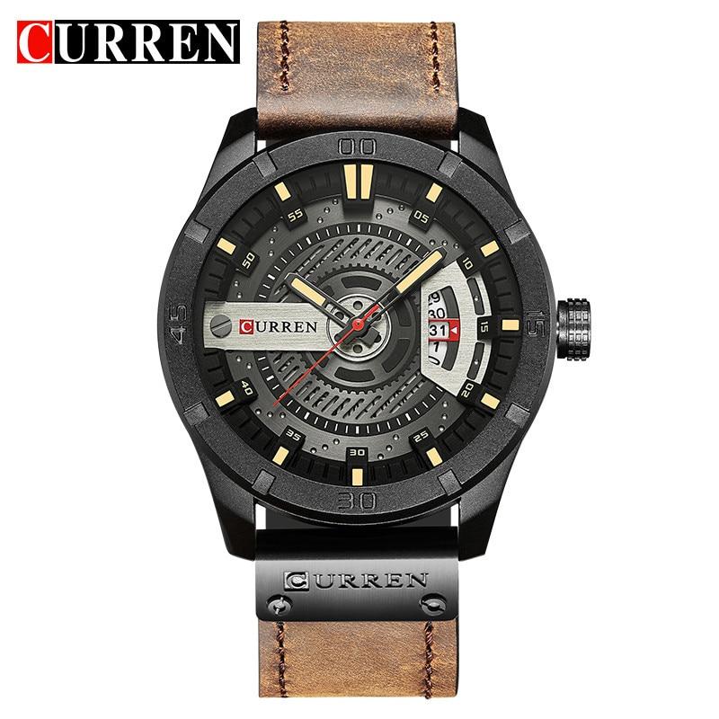 Top Brand Luxury Sport Watch Men date display Leather Creative Quartz Fashion Casuan Wrist Watches Relogio Masculino CURREN 8301 top display women100