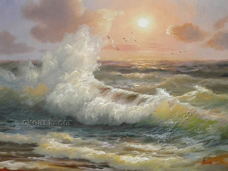 beautiful famous artist ocean waves at sunrise original