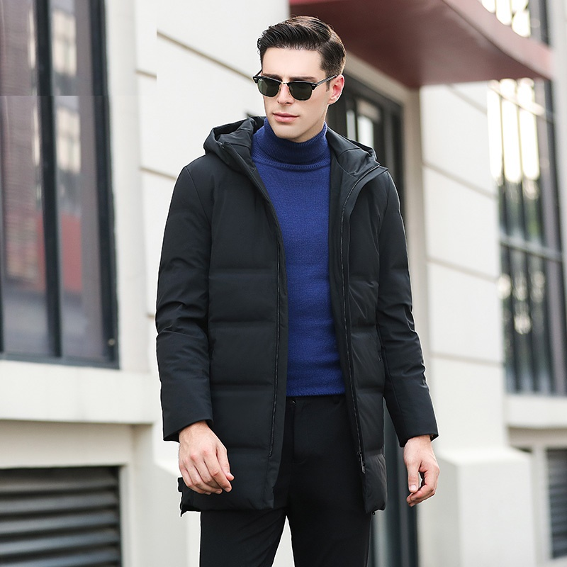 Men's Duck   Down   Jacket Hooded Thick   Down     Coat   for Men Male 8861