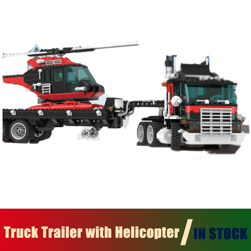 Compatible Lego Technic 5590 Models Building Toy Truck Trailer with Helicopter 1175pcs 21016 Building Blocks Toys & Hobbies models building toy super racing car red truck 914pcs 21010 building blocks compatible lego technic series 75913 toys