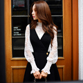 Original 2016 Marca Blusas Kimono Más El Tamaño Del Collar Del Soporte Hueco fuera 2 Unidades Flojo Sólido de La Manera del Otoño de Las Mujeres Top de Encaje venta al por mayor
