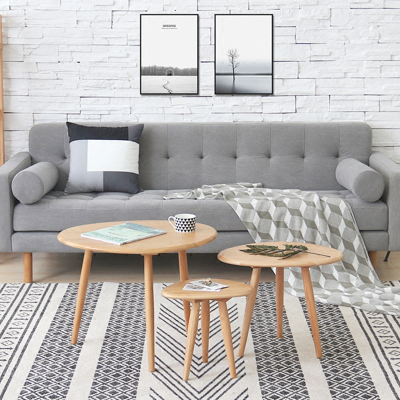 Small Coffee Table Combination Oak Wood Corner Modern Minimalist Creative  Oval Solid Wood Sofa Side Table In Coffee Tables From Furniture On  Aliexpress.com ...