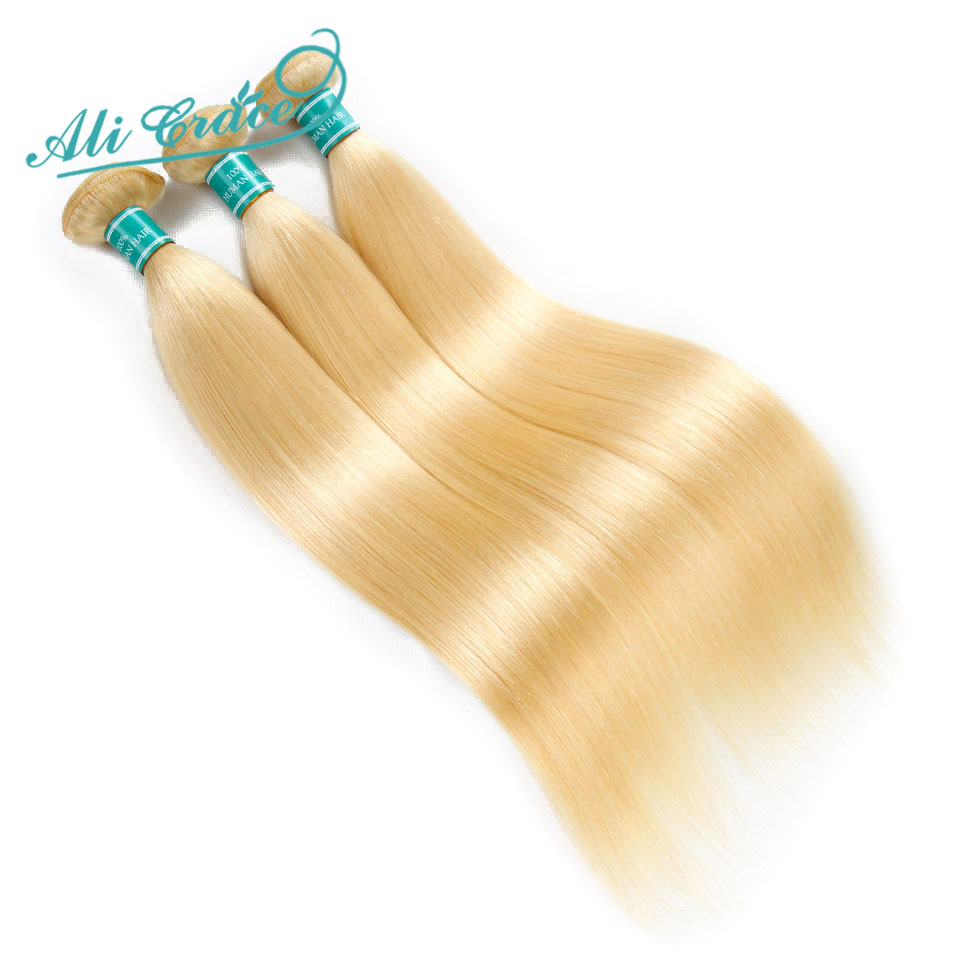 Ali Grace Hair Brazilian Straight Color Blonde 613 100 Remy Human Hair Weaving 3 Bundles Deal