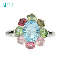 Natural Blue Topaz Silver Ring Oval 8mm 10mm Ocean Blue Stone With Bright Tourmaline Comfortable Color