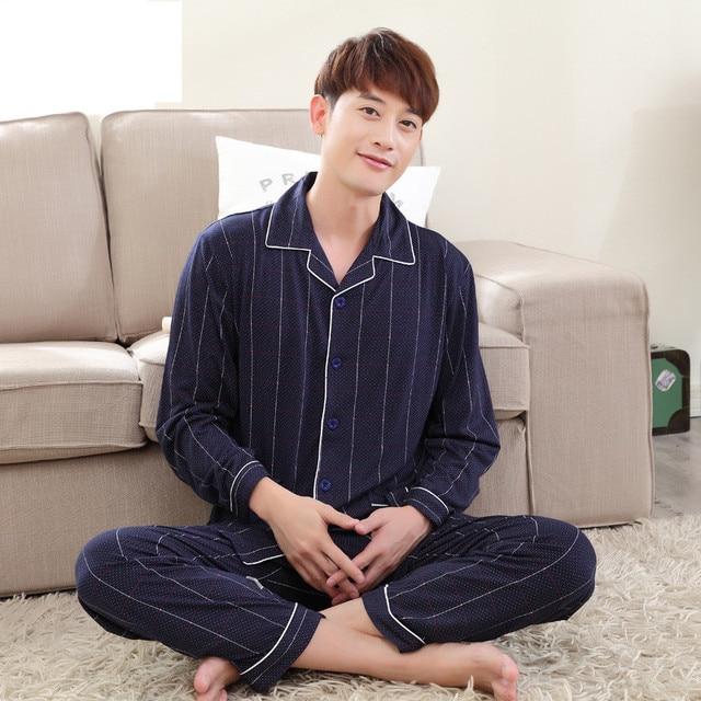 2016 New Arrival Men's Autumn Cotton Casual Pajamas Pyjamas Sets Blue Striped Soft Sleepwear Loungewear