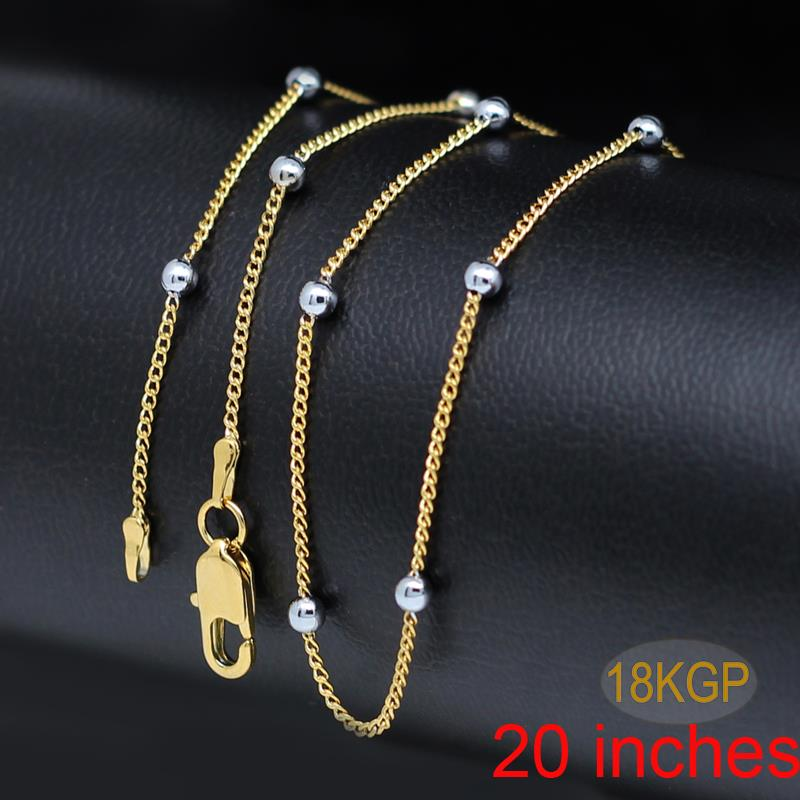 new design 2 years guarantee gold color ball beads rolo chain woman ...