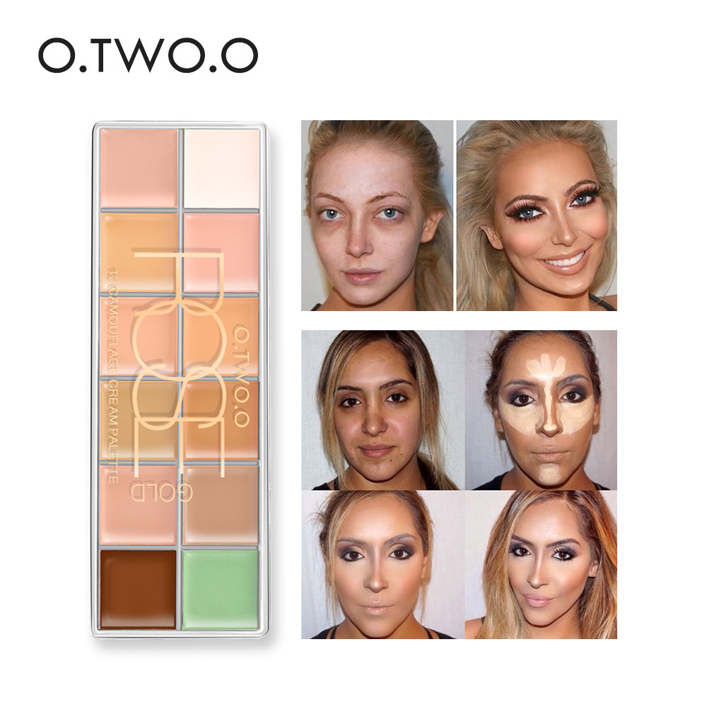O.TWO.O 12 Colors Concealer Palette Professional Face Makeup Camouflage Contour kit Long Lasting Concealer Cream Waterproof image