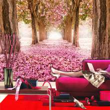 Big Tree Pink Flower Photo Wall Paper Mural Papel Parede 3D Living Room Bedroom Wall Papers Self Adhesive Vinyl / Silk Wallpaper(China)