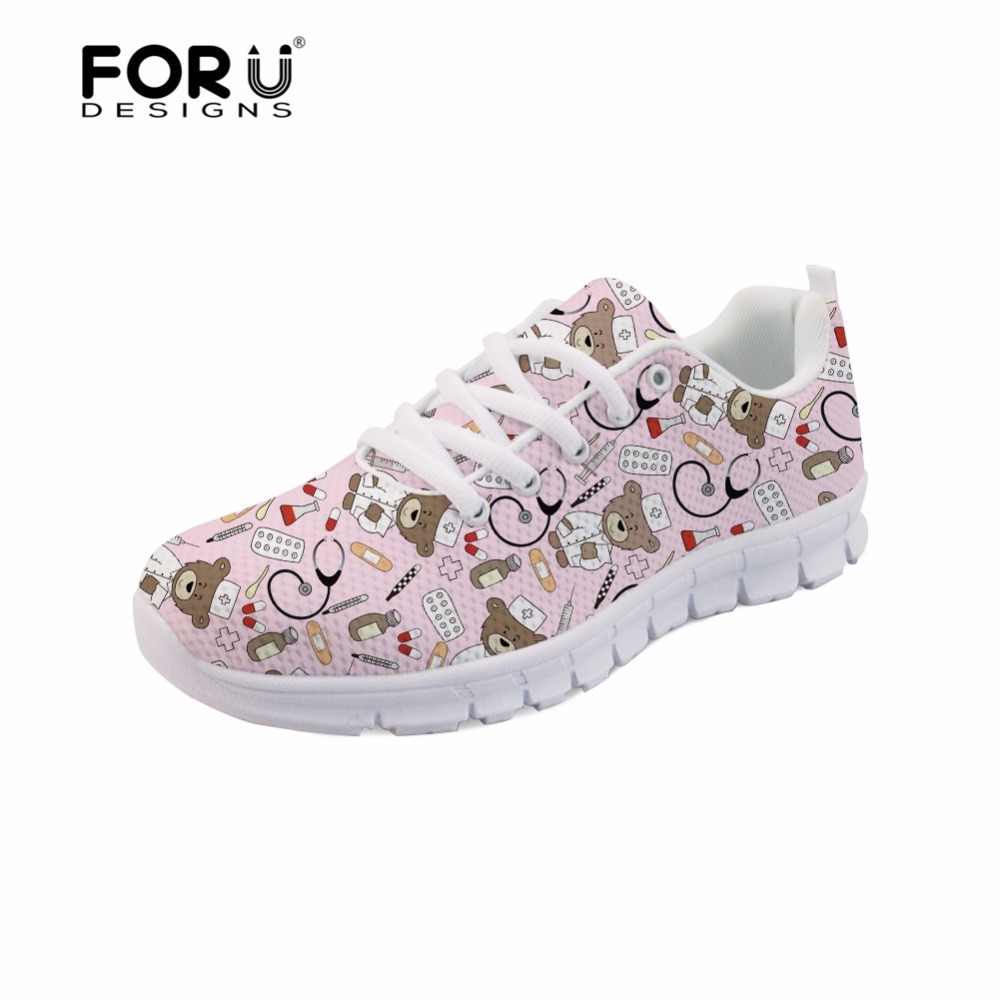 FORUDESIGNS Flats Sneakers Women Cute Nurse Bear Printed Cartoon Women's Comfortable Mesh Shoes Woman Casual Lightweight Shoes instantarts fashion women flats cute cartoon dental equipment pattern pink sneakers woman breathable comfortable mesh flat shoes