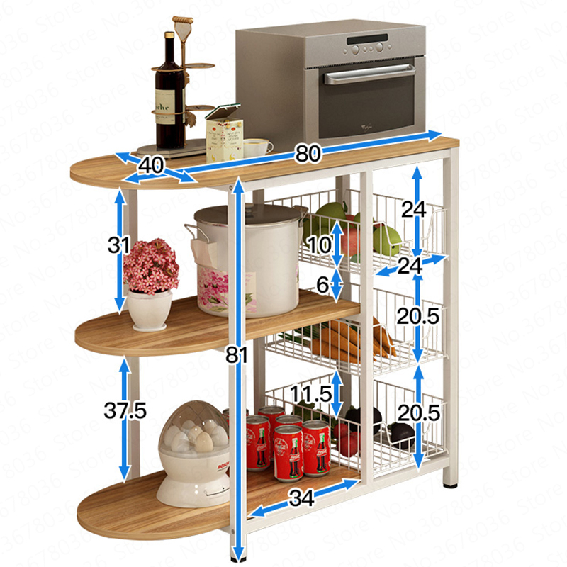 Estante de cocina, estante de almacenamiento multicapa, estante para horno, estante para horno, microondas, estante de almacenamiento, estante de gabinete para platos